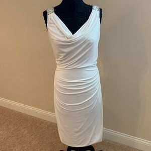 Cream Shirred Bodycon cocktail dress
